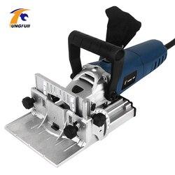 La lavorazione del legno Tenonatrice Macchina Del Biscotto Macchina Di Puzzle Macchina Groover Motore di Rame 900W Biscotto Jointer Elettrico Strumento