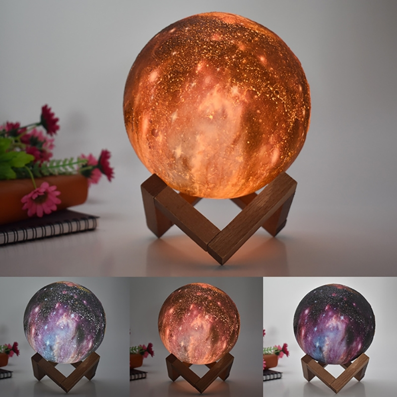 3D Painted Moon Lamp Led Spherical Night Light Remote Control Starry Sky Lamp For Kids