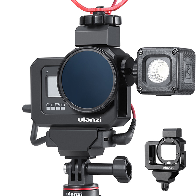 Ulanzi GoPro8 Metal Vlog Cage For LED Mic Dual Cold Shoe Adapter Mount 52mm Filter Adapter For Gopro Hero 8 Black Camera