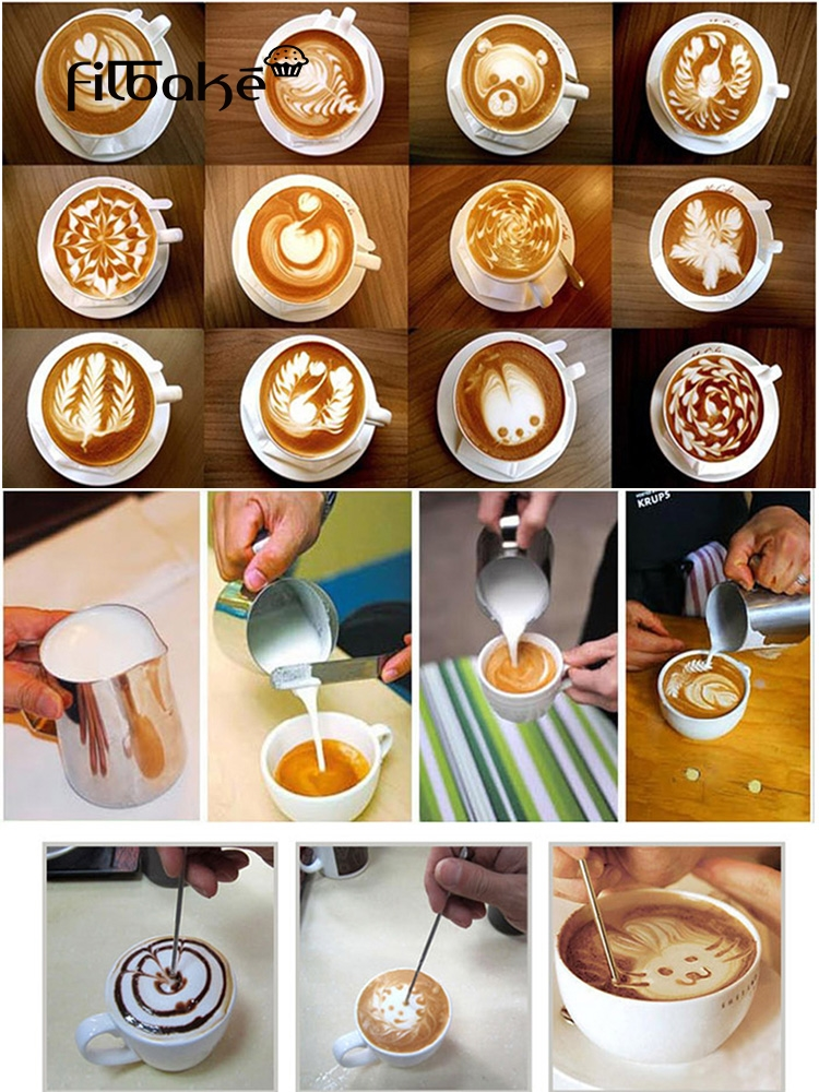FILBAKE The Magic Pen Coffee Art Needles Stainless Steel Carved Stick Coffee Hook Flower Fancy Coffee Art Painting Accessories