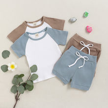 2020 Baby Clothes Summer Toddler Boys Girls Short Sleeve Solid T-shirt Tops+shorts Outfits Set Clothing Meisjes Baby Kleding(China)