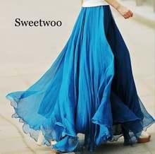 Женская шифоновая юбка с высокой талией Длинная пляжная макси