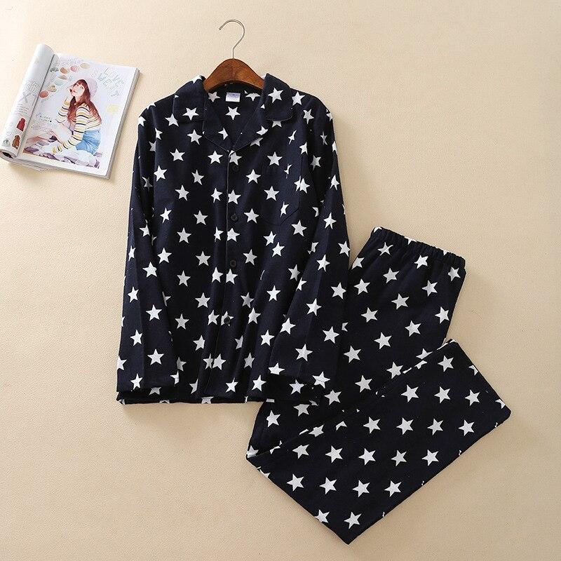 Men's Navy Pentagram Cotton Pajamas Long Sleeve Nightgown Men Pijamas Big Size Couple Set Cotton Warm Mansleepwear 2-piece Set