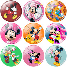 TAFREE Hot Mickey Minnie mouse cartoon 12/15//16/18//20//25 mm Round Handmade Photo Glass Cabochons & Pendant Cameo TQ168(China)