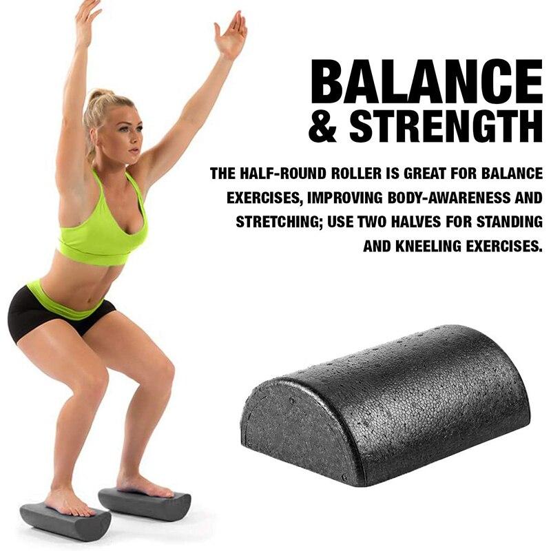 Rolo para Yoga Equipamentos de Fitness Meia Redonda Espuma Pilates Esporte Equilíbrio Almofada Blocos Yoga 1 Par 30cm Mod. 344439