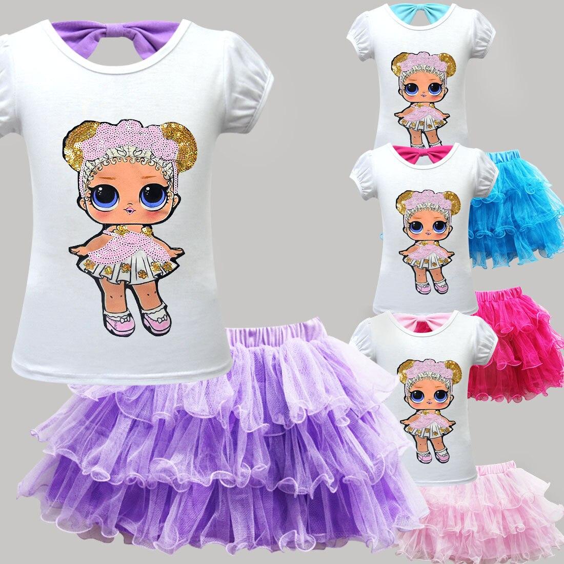 2019 New Surprise Cartoon Girl Trend LOl Suit Skirt Cute Girl Children Short-sleeved Mesh Tutu + Bag