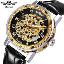 WINNER Vintage Fashion Skeleton Mechanical Watch Men Leather Strap Diamond Decoration Unisex Couple Watches Top Brand Luxury(China)