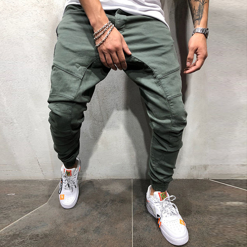 New Fashion Men Pants Hip Hop Joggers Fashion Basic Solid Elastic Waist Trousers Casual Pockets High Quality Mens Sweatpants