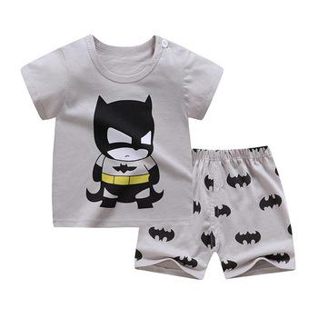 2020 ubrania dla dzieci maluch chłopcy kreskówkowe ubrania dla dzieci dziewczynki letnie koszulki garnitury 1 2 3 4 lata odzież dziecięca T-shirt + spodenki tanie i dobre opinie Na co dzień O-neck Zestawy Swetry ZJS00043 COTTON Unisex Krótki REGULAR Pasuje prawda na wymiar weź swój normalny rozmiar