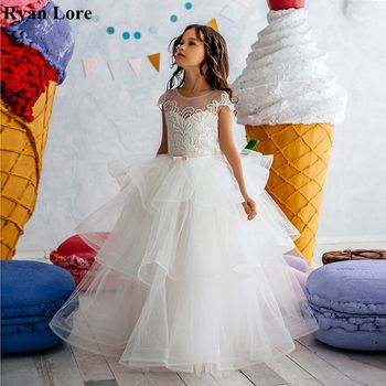 Elegant Ruffles Ball Gown Fower Girl Dresses 2020 Short Sleeves Princess Dress For Weddings Holy First Communion Pageant Gowns