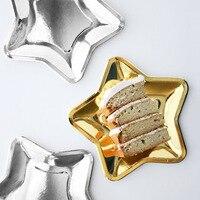 10 Teile/satz Nette 7inch Einweg Gold/silber Folie Papier Stern Platte Weihnachten Geburtstag Hochzeit Party Geschirr Dekorationen Geschenke