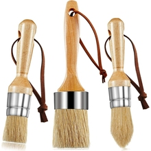 3 DIY Chalk Wax Mold Brushes, Flat, Pointed and Round Brushes ,Chalked Paint Brushes for Handicraft Painting
