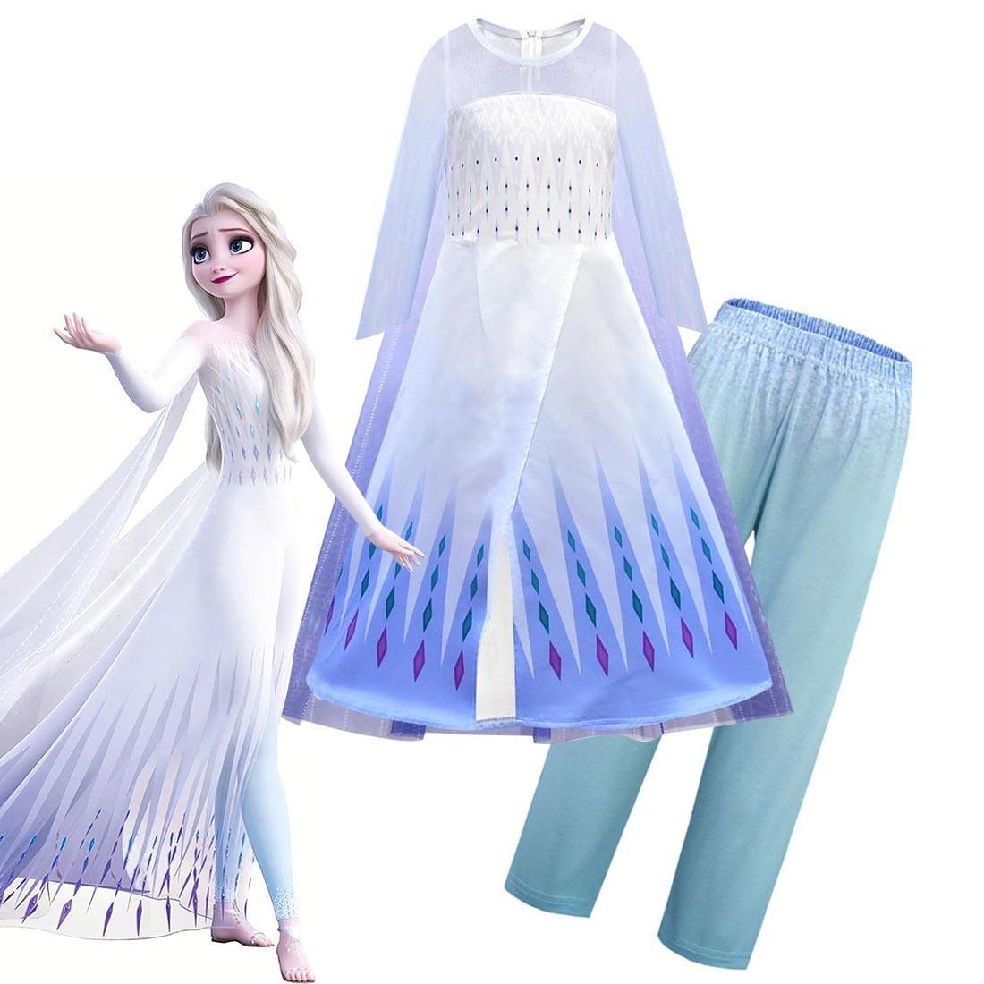 2020 New Snow Queen Anna Elsa Princess Cosplay Costume Outfit Full Set Halloween Costumes Fancy Dress Cloak Pants Set