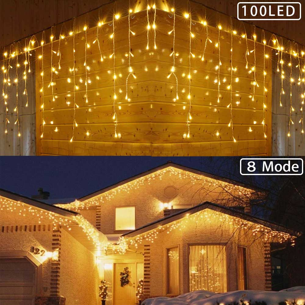 300 LED Icicle String Fairy Lights, Window Curtain Icicle String Light For Wedding Party Home Garden Bedroom Outdoor Indoor Wall