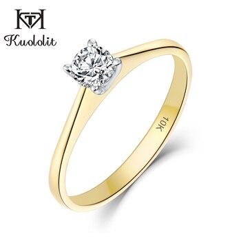 Kuololit 10K желтое и белое золото 100% натуральный моиссанит D драгоценный камень кольца для женщин Свадебные помолвки невесты подарки ювелирные ...