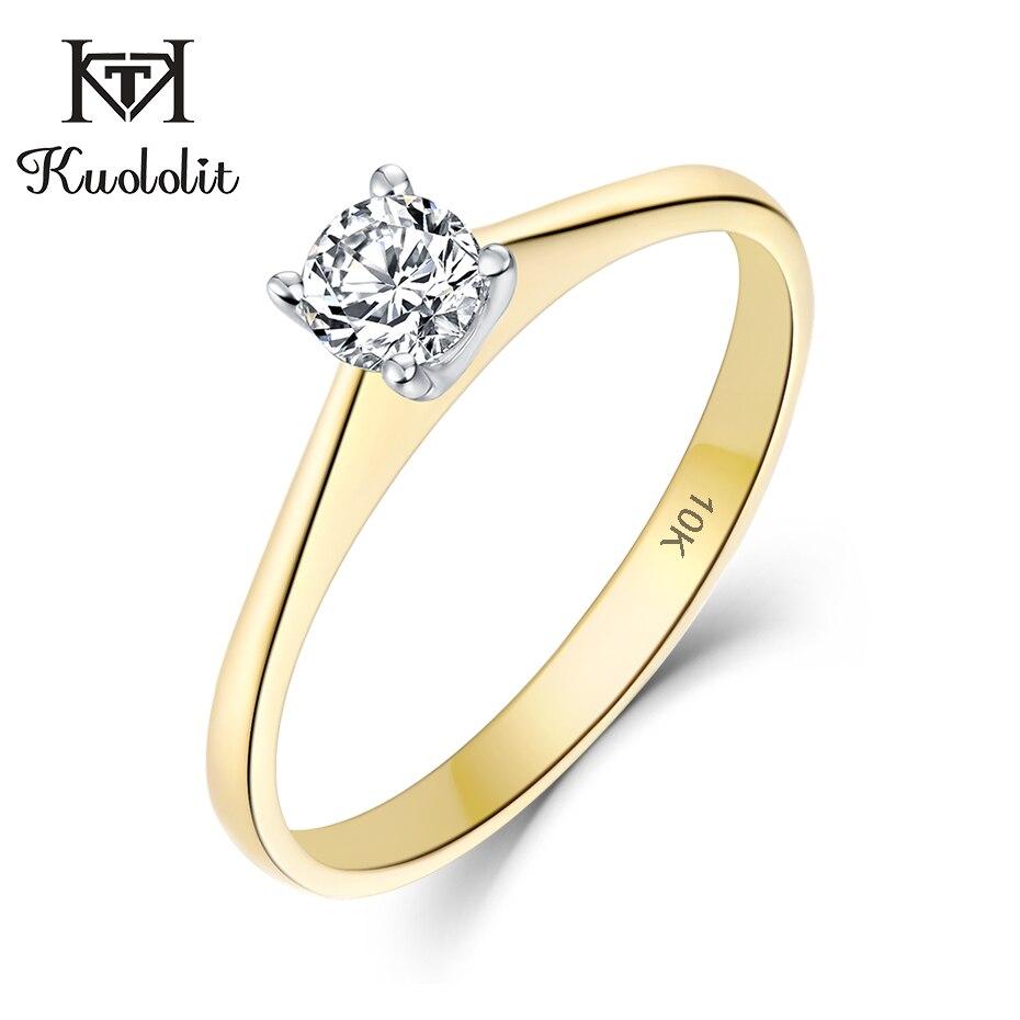 Kuololit 10K jaune & blanc or 100% naturel Moissanite D pierres précieuses anneaux pour les femmes mariage fiançailles mariée cadeaux beaux bijoux