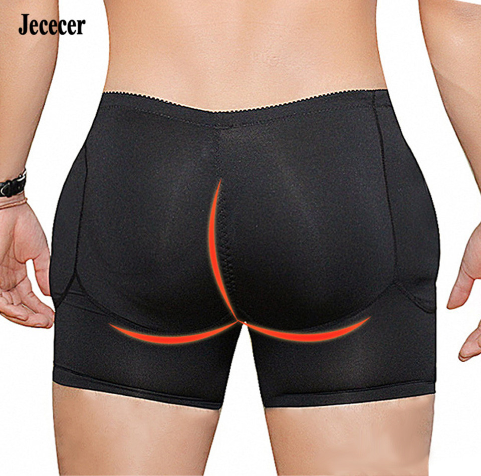 Jececer Butt Pads Padded Underpants Men Shapewear Underwear Black Boxer Fake Ass Shapers