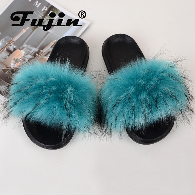 Fujin Furry Slides For Unisex Women Fur Leather Faux Summer Shoes Indoor Furry Slippers Flat Women's Sandals Zapatos De Mujer
