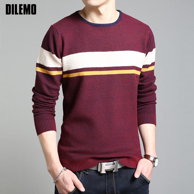 2019 New Fashion Brand Sweater For Mens Pullovers O-Neck Striped Slim Fit Jumpers Knit Autumn Korean Style Casual Men Clothes
