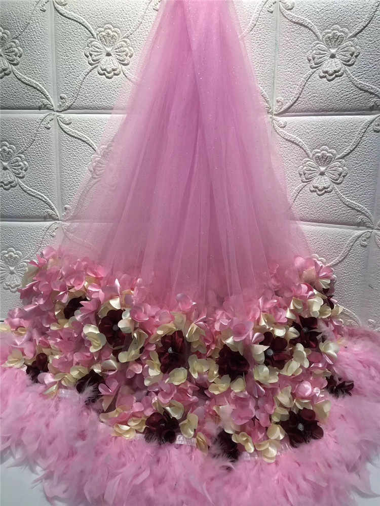 Very beautiful  3D Flowers  African Lace Fabric , New Nigerian Lace For Women Wedding Party Dress ls30-1679
