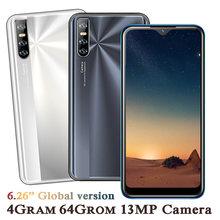 4g ram android 13mp smartphones a21 quad core original 64g rom 2sim telefones celulares face id desbloqueado 6.26