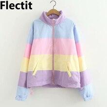 Flectit Women Pastel Rainbow Bomber Jacket Cute Color Block Duster Souvenir Suka