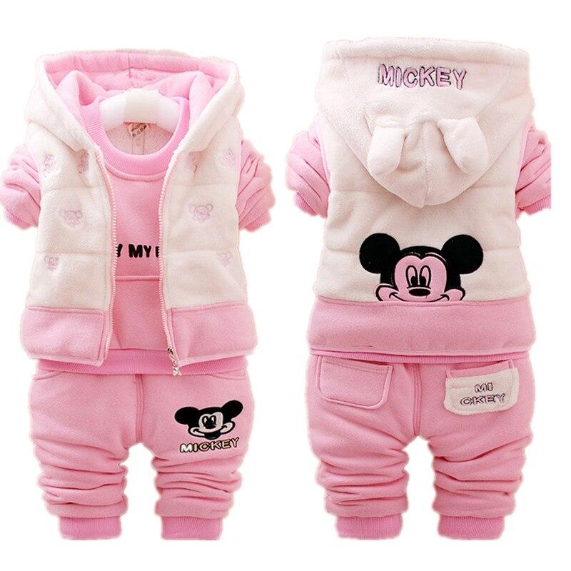 Minnie Baby Mädchen Kleidung Schnee warme Kinder Anzüge Casual Baby Boy Kleidung Sets jacke + Sweatshirts + Sport hosen winter kinder Set