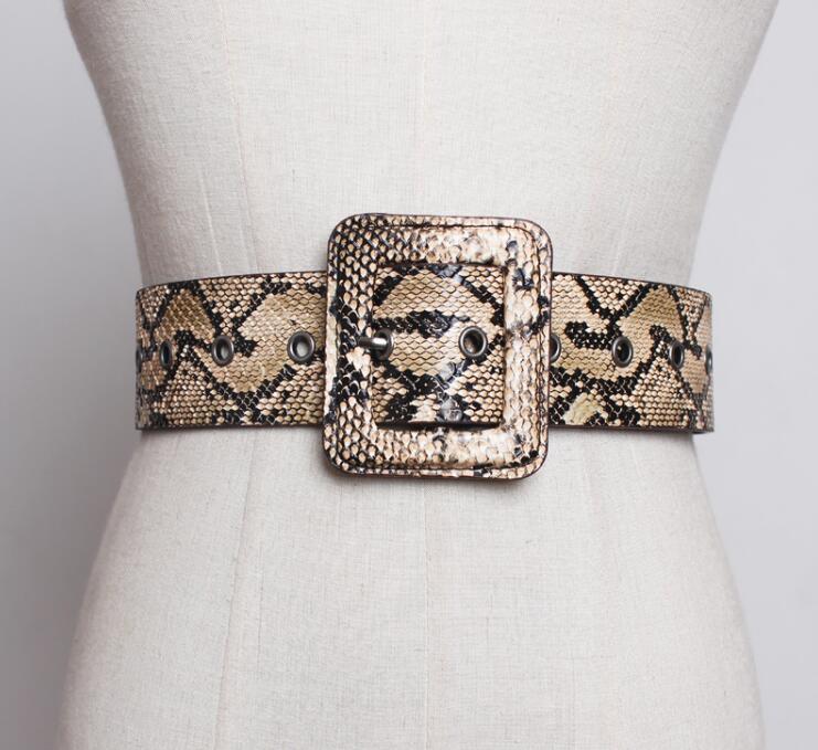 Women's Runway Fashion Snake Skin Pu Leather Cummerbunds Female Dress Coat Corsets Waistband Belts Decoration Wide Belt R1801
