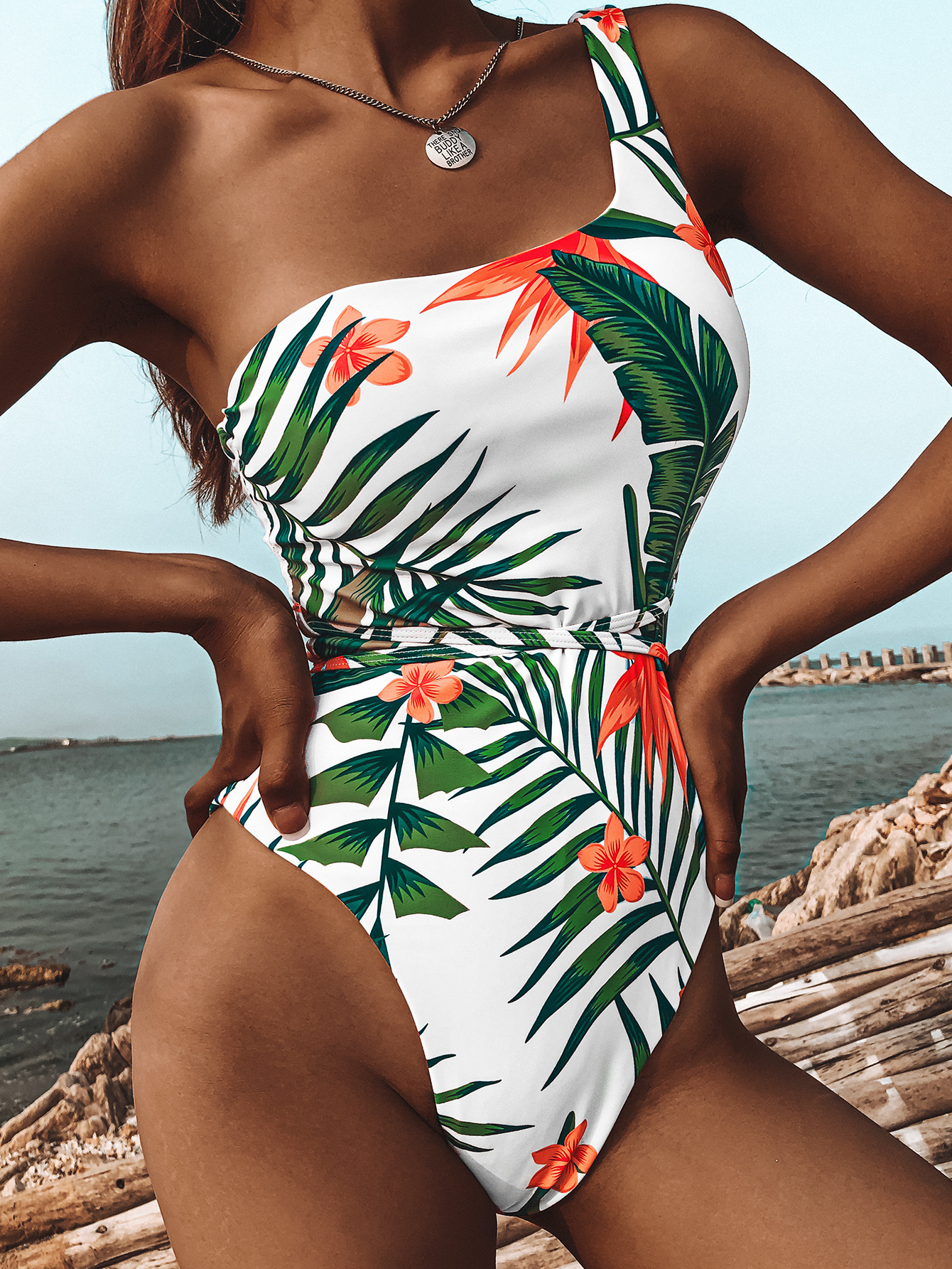 Clearance SaleOne-Piece Swimsuit Monokini Thong Push-Up High-Leg Summer Sexy Solid Cut Women AGOUTI