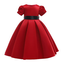 2019 new spot red children's skirt girls solid color dress flower girl dress skirt princess dress(China)