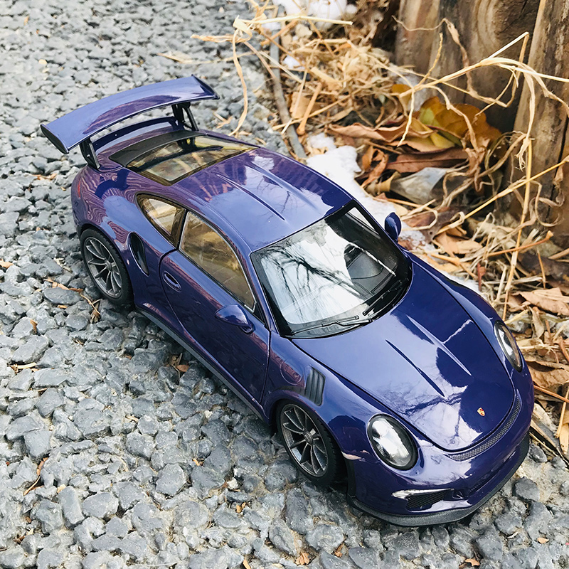 Welly 1:24  Porsche 911 GT3 RS Purp Car Alloy Car Model Simulation Car Decoration Collection Gift Toy Die Casting Model Boy Toy