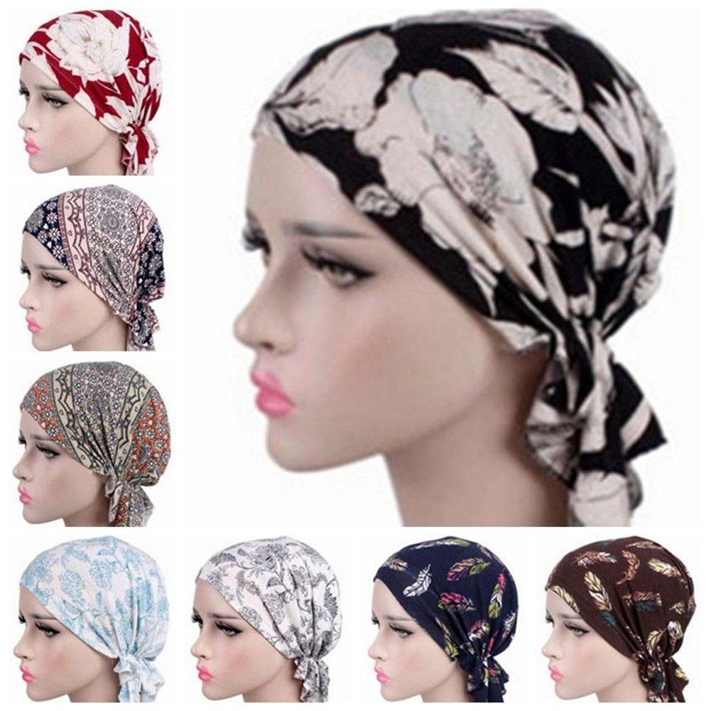 Women Head Scarf Hat Stretch Cotton Floral Chiffon Turban Chemo Caps Indian Head Wrap Hair Loss Headscarf Winter 2019