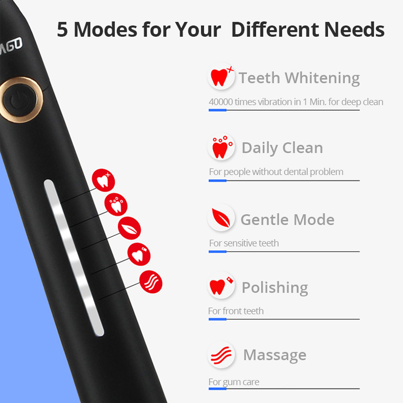 Seago Acoustic Wave Electric Toothbrush Ultra Sonic Vibration 5 Modes Powerful Clean Teeth Whitening 1 Handle 3 Heads