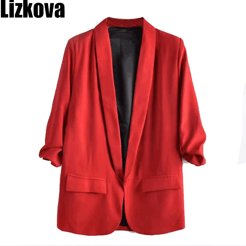 2019 Summer Three Quarter Sleeve Thin Blazer Jacket Solid Color Small Suit Office Lady Loose Lon Blazer
