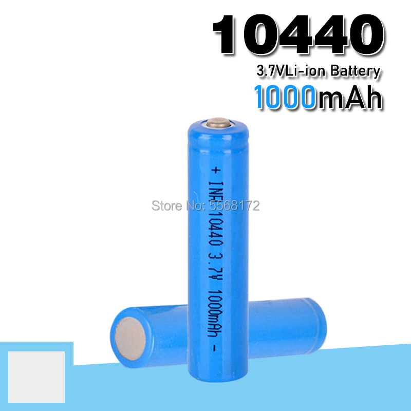 10440 capacity Battery 1000mAh 3.7V Rechargeable Lithium ion AAA Batteries Button Top Li-ion Batteries FLASHLIGHT SHAVER image
