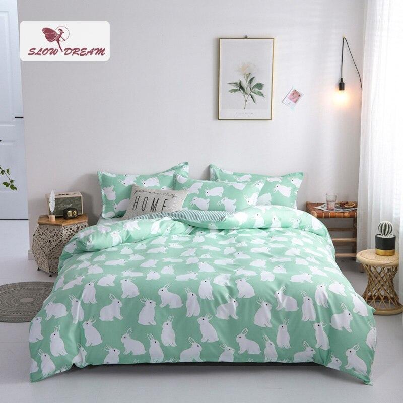 SlowDream Cartoon Rabbit Printed Bedding Set Green Duvet Cover Comforter Single Double Flat Sheet Bedspead Bed Set Wholesale