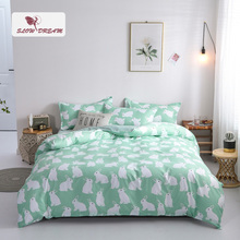 SlowDream Cartoon Rabbit Printed Bedding Set Green Duvet Cover Comforter Single Double Flat Sheet Bedspead Bed Wholesale