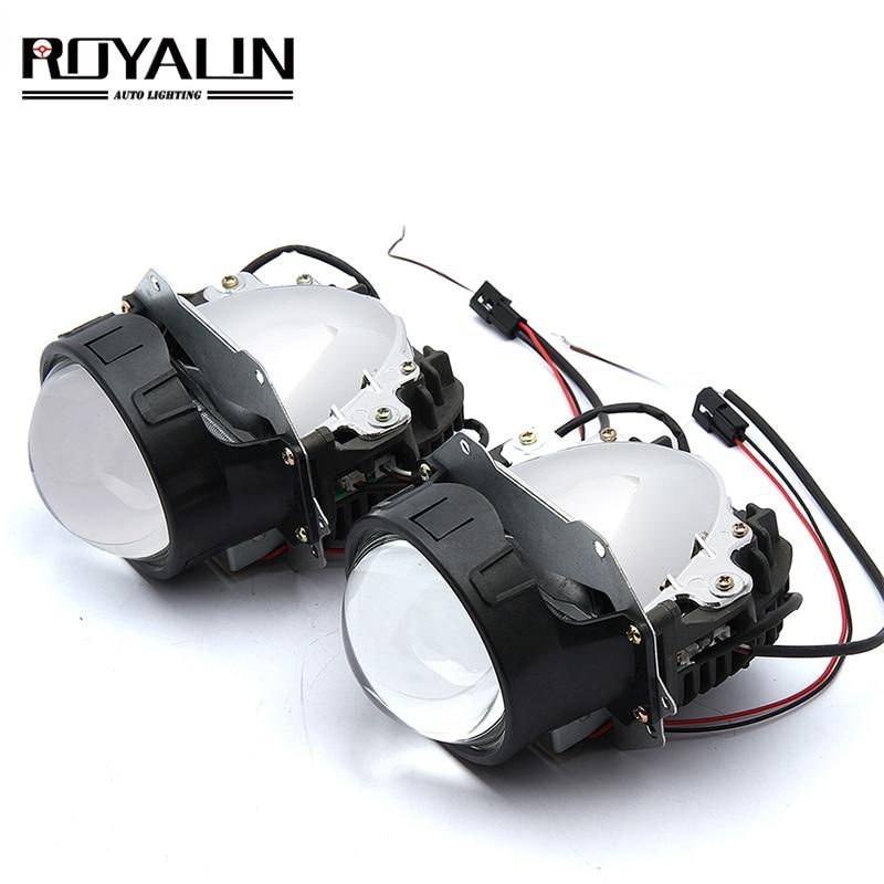 ROYALIN Car Styling Universal Bi LED Projector Headlights Lens With Chip 3.0 inch High and Low Beam Auto Headlamp Light Retrofitlens with ledlens ledlens headlight -