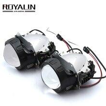 ROYALIN سيارة التصميم العالمي ثنائية جهاز عرض (بروجكتور) ليد المصابيح الأمامية عدسة مع رقاقة 3.0 بوصة عالية و منخفضة شعاع السيارات كشافات ضوء التحديثية