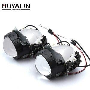 Image 1 - ROYALIN سيارة التصميم العالمي ثنائية جهاز عرض (بروجكتور) ليد المصابيح الأمامية عدسة مع رقاقة 3.0 بوصة عالية و منخفضة شعاع السيارات كشافات ضوء التحديثية