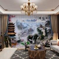 Cortinas de fotos 3d personalizadas  cortinas de tule pura para paisagem do quarto da sala de estar