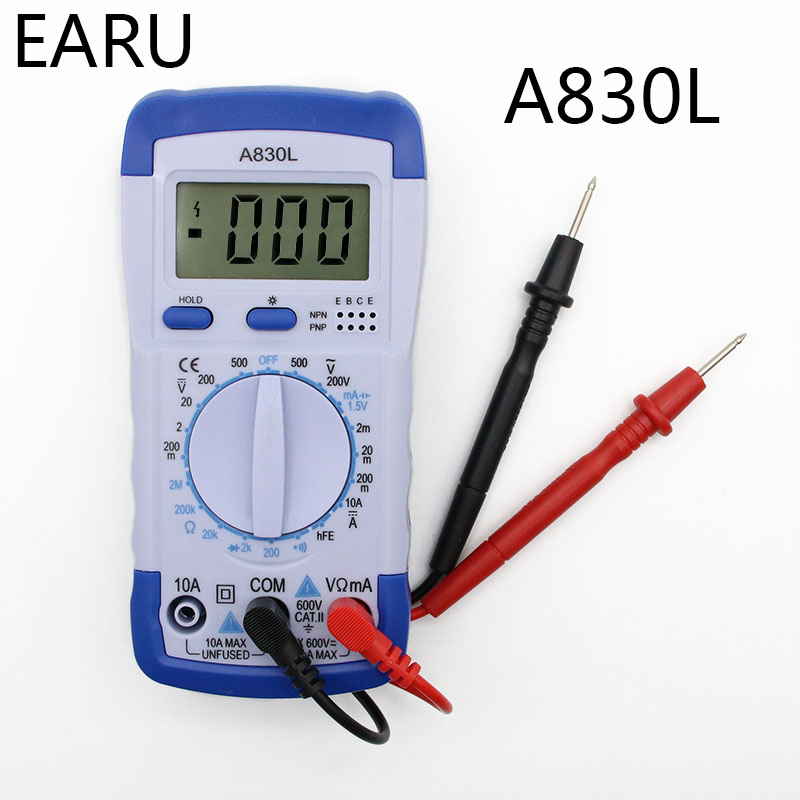 A830L LCD Digital Multimeter DC AC Voltage Diode Freguency Volt Tester Test Current Voltmeter Ammeter Meter Gauge Display Tool