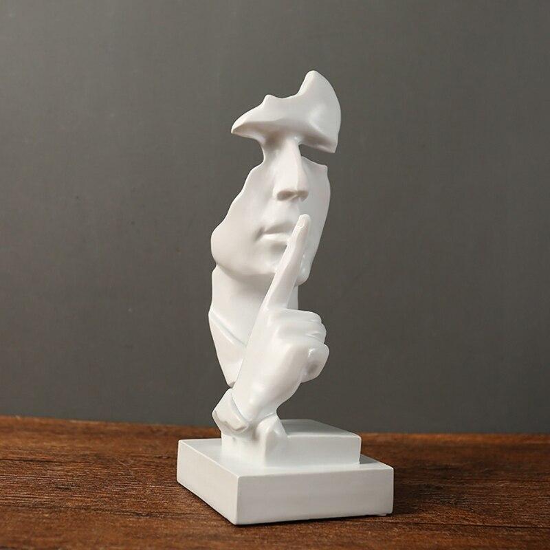 Nieuwe Hars Stilte Masker Standbeeld Abstracte Beeldjes Geen Zeggen Nee Zie Geen Horen Masker Sculptuur voor Office Vintage Home Decor