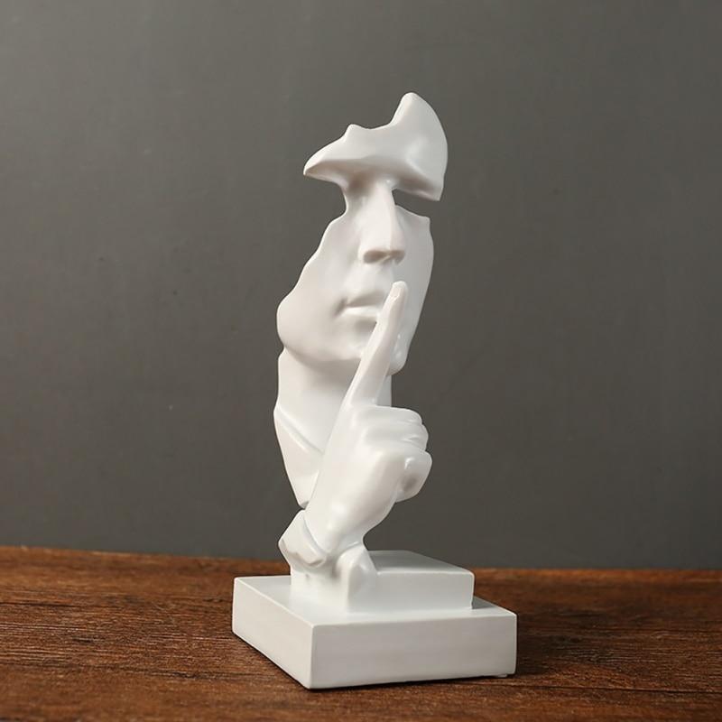 Nowa żywica ciszy maska statua streszczenie statuetki nie powiedzieć, że się nie widzieliśmy nie słychać maska rzeźby na biuro w stylu Vintage Home Decor