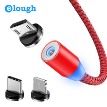 Elough Magnetic Charging USB Cable for iPhone charger Micro Type C LED xiaomi Charger