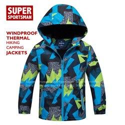 Inverno crianças velo pele quente softshell criança meninos ao ar livre impermeável com capuz jaquetas de chuva blusão caminhadas acampamento casacos