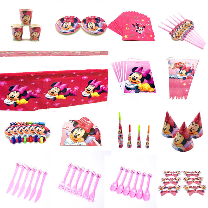 Disney Red Minnie Mouse Cartoon Theme Birthday Party Decorations kids Disposable Tableware Birthday Party Decorations Supplies