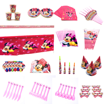 Disney Red Minnie Mouse Cartoon Theme Birthday Party Decorations kids Disposable Tableware Birthday Party Decorations Supplies image