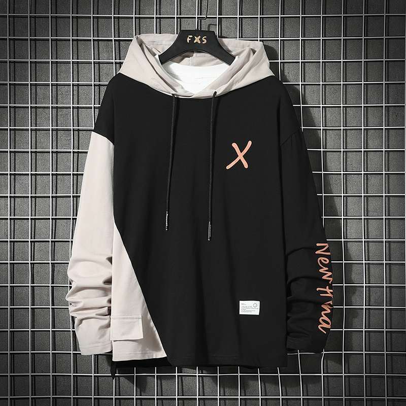 Japan Style Casual O-Neck 2021 Spring Autumn Striped Hoodie Sweatshirt Men'S Thick Fleece Hip Hop High Streetwear Clothes