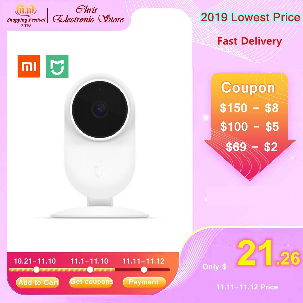 Xiaomi Mijia 1080P HD Smart IP Camera Wireless WiFi 130 Degree FOV Partition AI Detection 10m Infrared Night Vision Security Cam